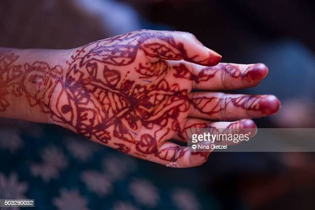 Mehndi or Henna applied to hand
