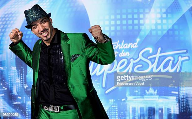 Mehrzad Marashi celebrates after winning the contest 'DSDS Deutschland Sucht Den Superstar' final show on April 17 2010 in Cologne Germany