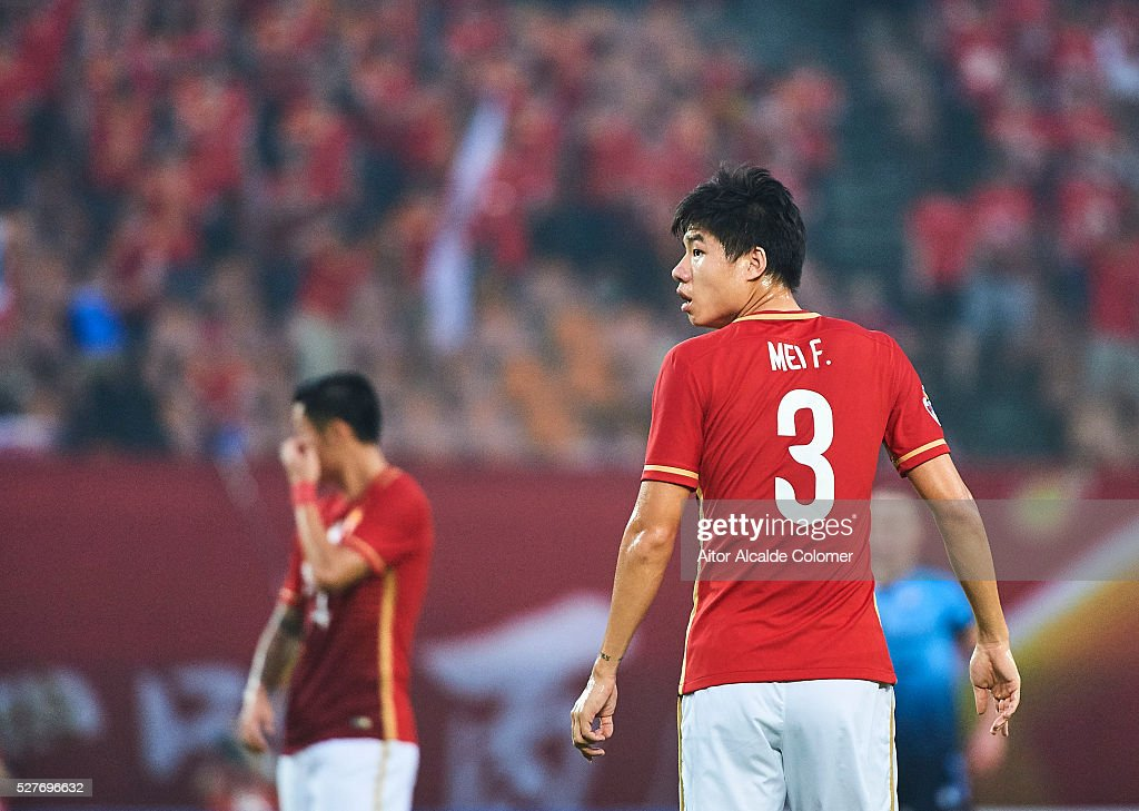 Mei Fang of Guangzhou Evergrande looks on during the AFC Asian Champions League match between Guangzhou Evergrande FC and Sydney FC at Tianhe Stadium on May 3, 2016 in Guangzhou, China.