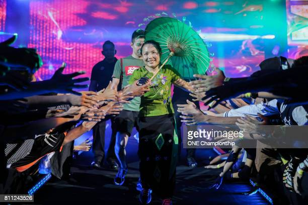 Mei Yamaguchi walked out to the cage in a traditional Myanmar dress during ONE Championship Light Of A Nation at the Thuwunna Indoor Stadium on June...