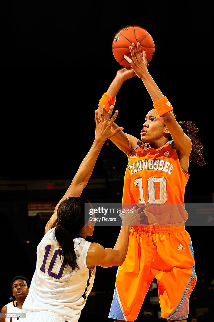 Meighan Simmons #10 of the Tennessee Volunteers shoots over Adrienne Webb #10 of the LSU Tigers during a game at the Pete Maravich Assembly Center on February 7, 2013 in Baton Rouge, Louisiana. Tennessee won the game 64-62.