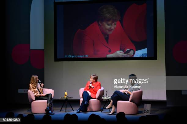 Meike Dinklage German chancellor Angela Merkel and Brigitte Huber speak on stage during the Brigitte Live Event at Maxim Gorki Theater on June 26...