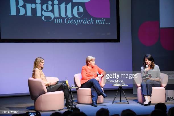 Meike Dinklage German chancellor Angela Merkel and Brigitte Huber during the Brigitte Live Conversation on June 26 2017 in Berlin Germany