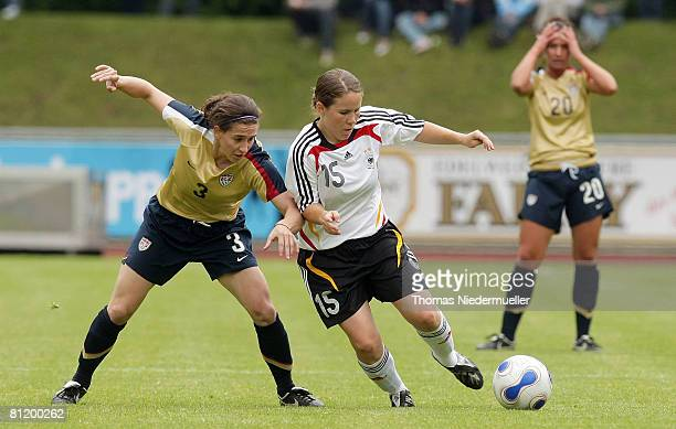 Meike Weber of Germany battles for the ball with Lorraine Quinn of the USA during the U23 women's friendly match between Germany and USA at the...