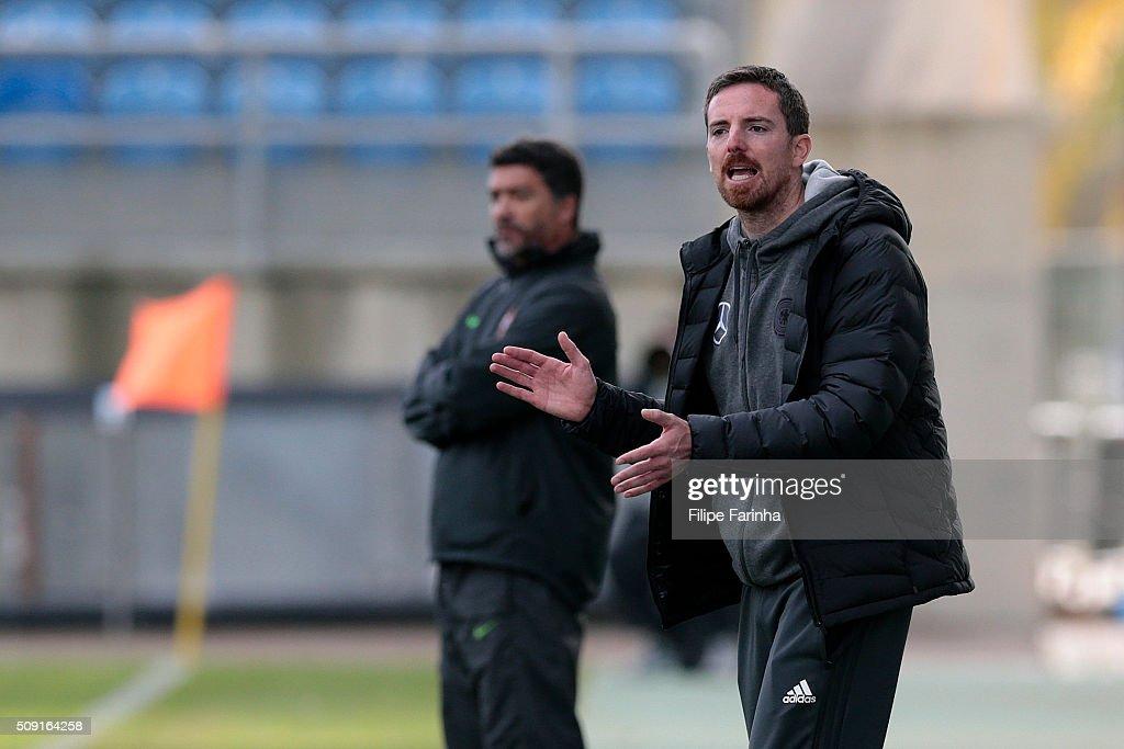 Meikel Schonweitz, coach of Germany during the UEFA Under17 match between U17 Portugal v U17 Germany on February 9, 2016 in Estádio Algarve, Loulé, Portugal.