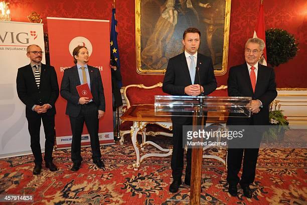 Meinhard Rauchensteiner Manuel Gras Marcus Schober and Heinz Fischer speak to the audience during a press preview 'Hofburg Ein Stueck Geschichte' at...