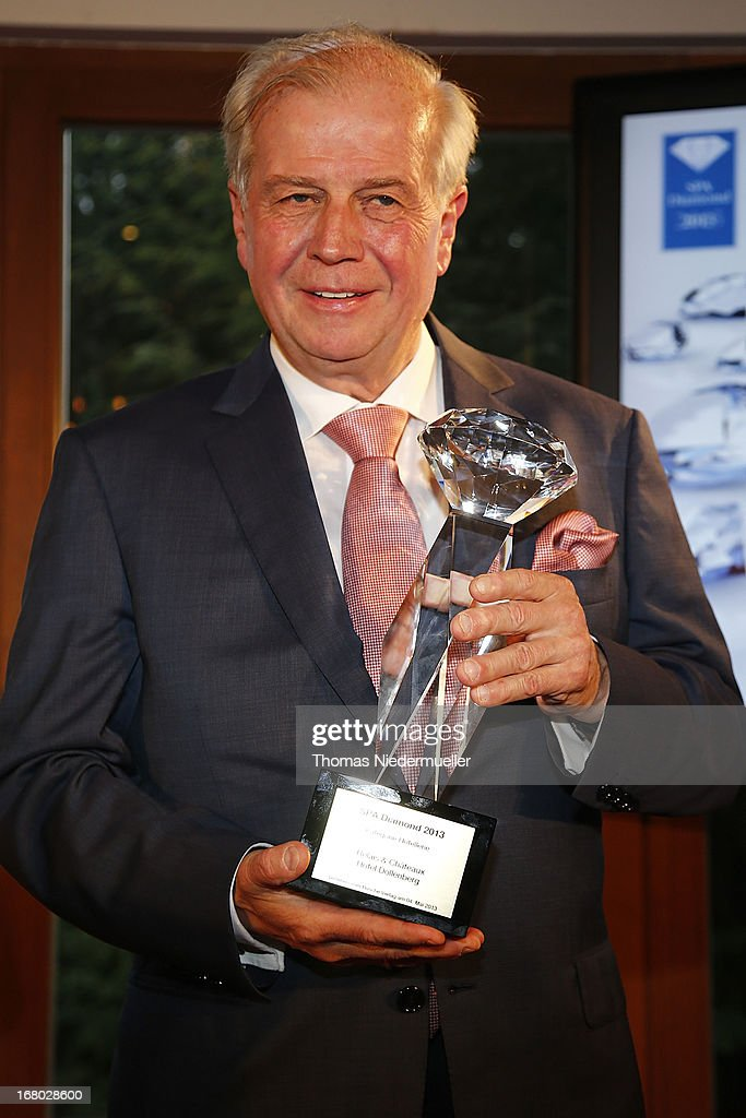Meinrad Schmiederer holds the Spa Diamond Award 2013 during the Spa Diamond Award 2013 on May 4, 2013 in Bad Peterstal-Griesbach, Germany.