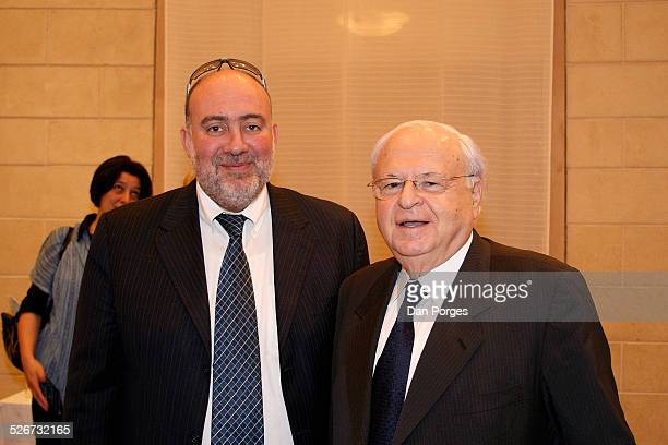 Meir Rosen or Rosenne former Israeli Ambassador to the US and France and Ron Prosor current Israeli Ambassador to the UN pose at a conference on...
