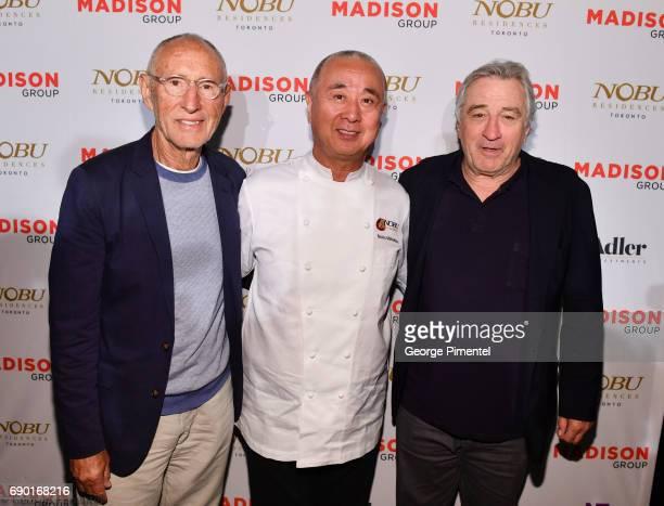 Meir Teper Chef Nobu Matsuhisa and Robert De Niro attend the Nobu Residences Toronto unveiling plans with Nobu hospitality press conference at Nobu...