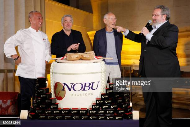 Meir Teper Robert De Niro Nobu Matsuhisa and Drew Nieporent attend the Nobu Downtown Sake Ceremony at Nobu Downtown on May 30 2017 in New York City