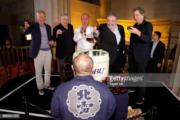 Meir Teper Robert De Niro Nobu Matsuhisa Drew Nieporent and David Rockwell toast with sake brewer Hazu Fumio at the Nobu Downtown Sake Ceremony at...