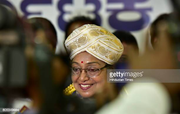 Meira Kumar the Presidential election candidate of the opposition at Karnataka Pradesh Congress Committee on July 1 2017 in Bengaluru India