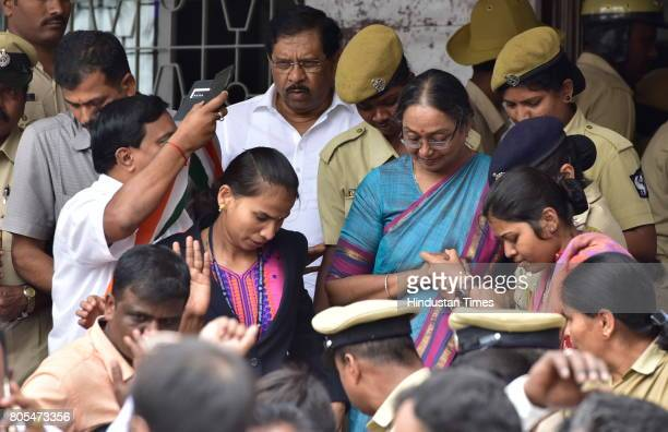 Meira Kumar the Presidential election candidate of the opposition leaving Karnataka Pradesh Congress Committee after a press conference on July 1...