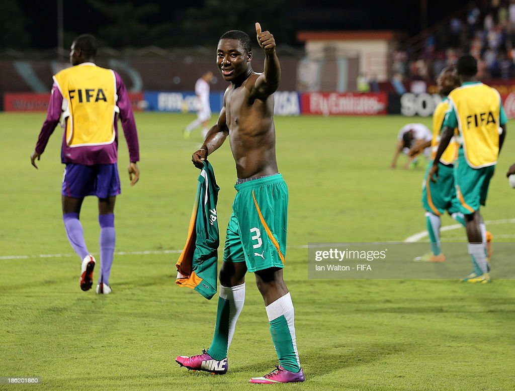 Meite Yakou of Ivory Coast celebrates after winning the Round of 16 match of the FIFA U-17 World Cup between Morocco and Ivory Coast at Fujairah Stadium on October 29, 2013 in Fujairah, United Arab Emirates.