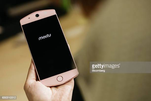 A Meitu Inc M6 smartphone is displayed for a photograph in Hong Kong China on Tuesday Dec 13 2016 Meitu the Chinese maker of selfie apps will start...