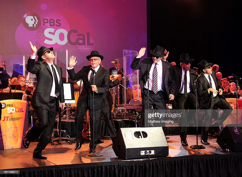 'Mel and the Mel-Adjusteds' perform at the PBS SoCaL 2013 'A Lifetime of Learning' Gala at the Atlantic Aviation Hangar at John Wayne Airport on April 27, 2013 in Santa Ana, California.