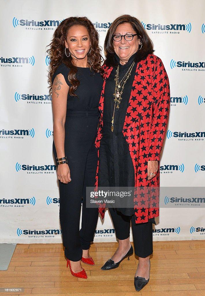 Mel B (L) and Fern Mallis visit SiriusXM Studios on September 26, 2013 in New York City.