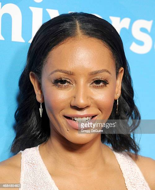 Mel B arrives at the 2015 NBCUniversal Summer Press Day at The Langham Huntington Hotel and Spa on April 2 2015 in Pasadena California