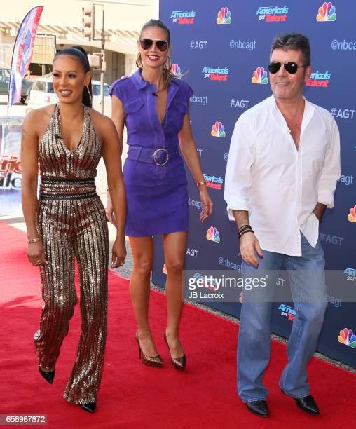 Mel B Heidi Klum and Simon Cowell attend NBC's 'America's Got Talent' Season 12 Kickoff on March 27 2017 in Pasadena California