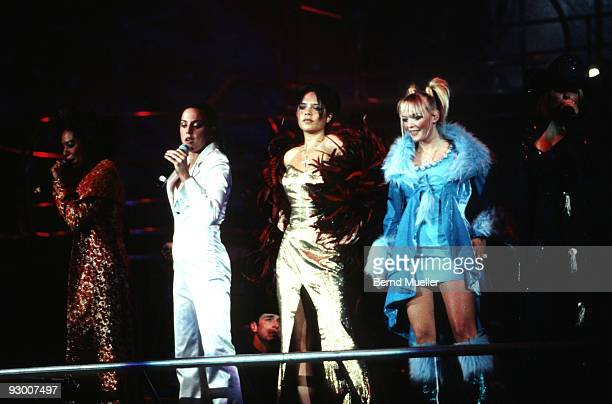 Mel B Mel C Victoria Adams and Emma Bunton of The Spice Girls perform on stage at the Olympiahalle on March 26th 1998 in Munich Germany