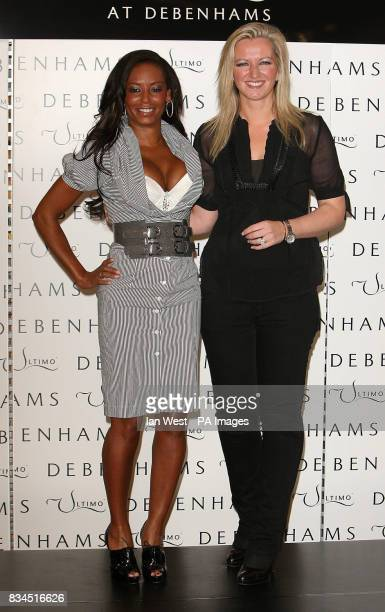 Mel B the new face and body of Ultimo lingerie with Michelle Mone creator of Ultimo during a photocall at Debenhams on Oxford Street in London
