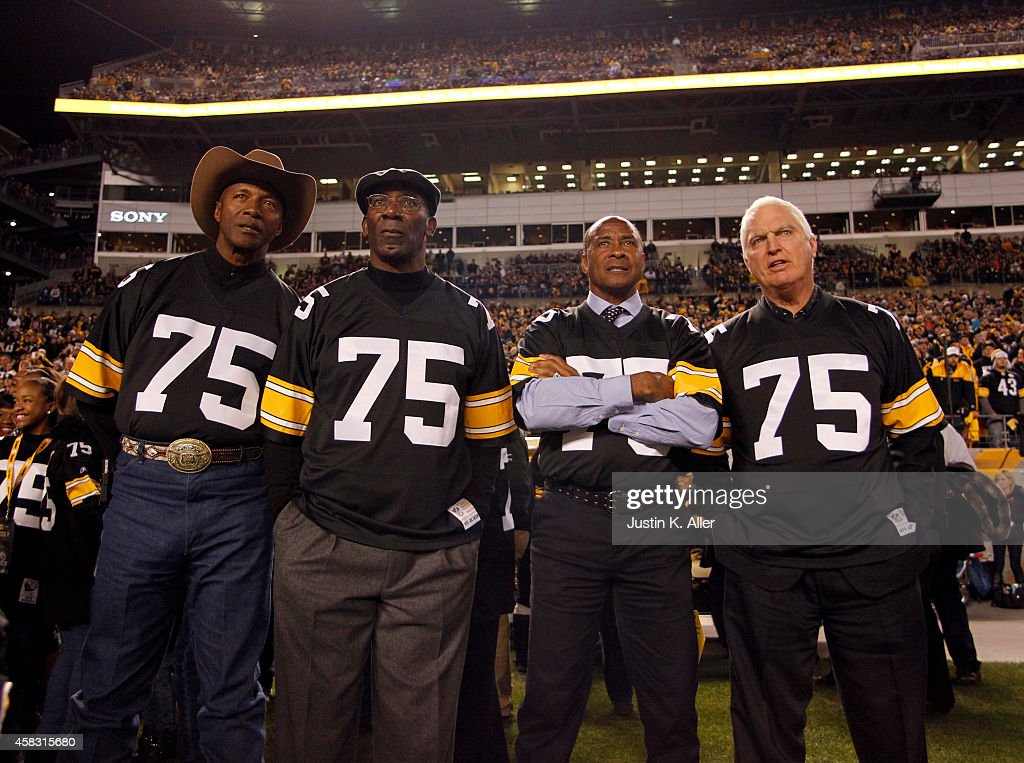 Mel Blount, <a gi-track='captionPersonalityLinkClicked' href=/galleries/search?phrase=John+Stallworth&family=editorial&specificpeople=585421 ng-click='$event.stopPropagation()'>John Stallworth</a>, <a gi-track='captionPersonalityLinkClicked' href=/galleries/search?phrase=Lynn+Swann&family=editorial&specificpeople=169831 ng-click='$event.stopPropagation()'>Lynn Swann</a> and <a gi-track='captionPersonalityLinkClicked' href=/galleries/search?phrase=Andy+Russell&family=editorial&specificpeople=536607 ng-click='$event.stopPropagation()'>Andy Russell</a> look on from the sidelines during the game against the Baltimore Ravens on November 2, 2014 at Heinz Field in Pittsburgh, Pennsylvania.