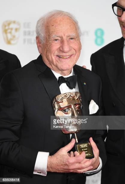 Mel Brooks with his BAFTA Fellowship award at the 70th EE British Academy Film Awards at the Royal Albert Hall on February 12 2017 in London England