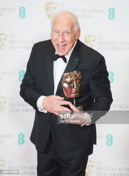 Mel Brooks with his BAFTA Fellowship award at the 70th EE British Academy Film Awards at Royal Albert Hall on February 12 2017 in London England