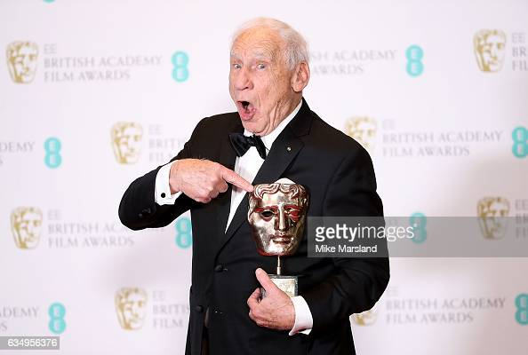 Mel Brooks with his BAFTA Fellowship award in the winners room at the 70th EE British Academy Film Awards at Royal Albert Hall on February 12 2017 in...
