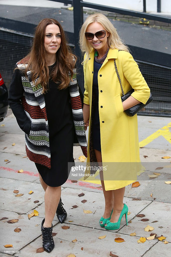 Mel C and <a gi-track='captionPersonalityLinkClicked' href=/galleries/search?phrase=Emma+Bunton&family=editorial&specificpeople=201973 ng-click='$event.stopPropagation()'>Emma Bunton</a> seen at The ITV Studios after appearing on Loose Women on November 13, 2012 in London, England.
