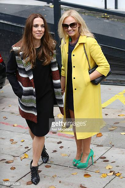 Mel C and Emma Bunton seen at The ITV Studios after appearing on Loose Women on November 13 2012 in London England