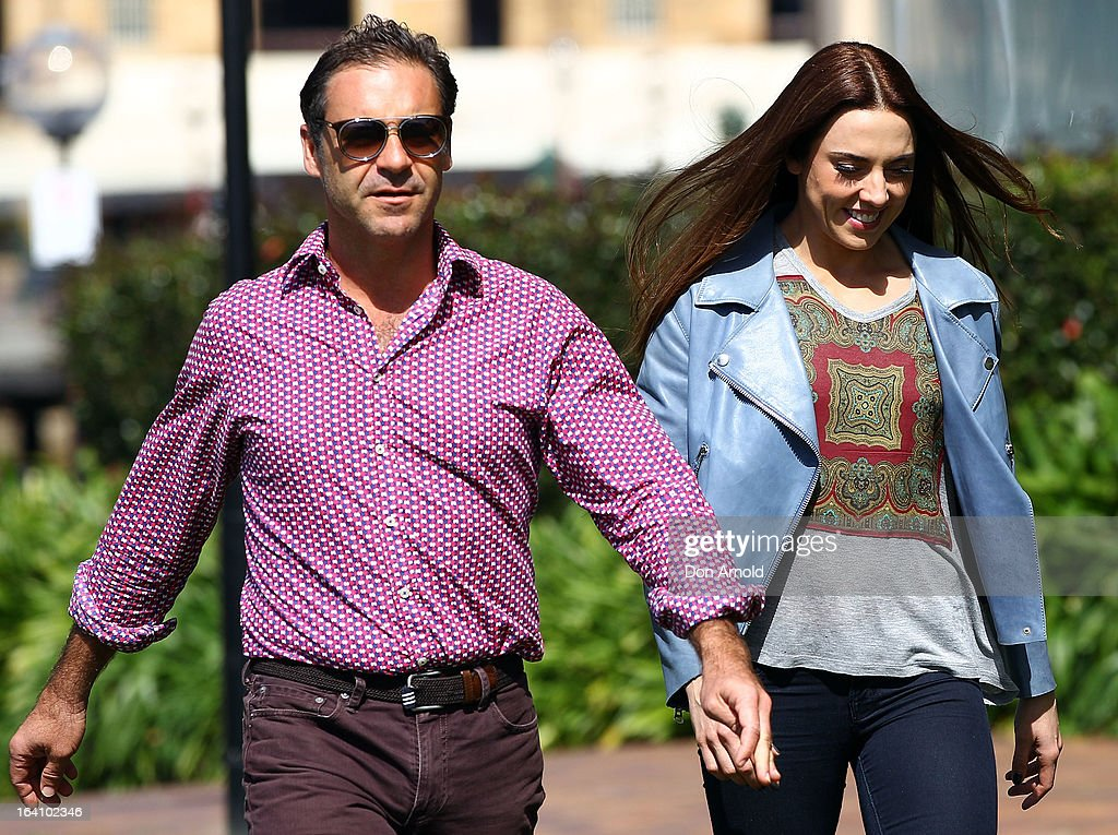 Mel C arrives alongside Andrew O'Keefe at a media call for the cast of Jesus Christ Superstar at Hicksons Road Reserve in The Rocks, on March 20, 2013 in Sydney, Australia.