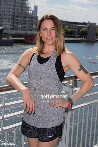 Mel C attends for a Photocall before The London Triathlon at ExCel on August 6 2016 in London England