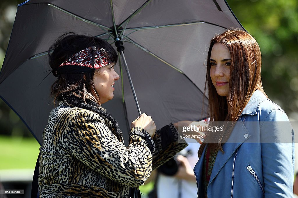 Mel C has her hair tended to during a media call for the cast of Jesus Christ Superstar at Hicksons Road Reserve in The Rocks, on March 20, 2013 in Sydney, Australia.