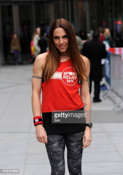 Mel C pictured at the Sport Relief event at the BBC with Jo Whiley on March 20 2014 in London England