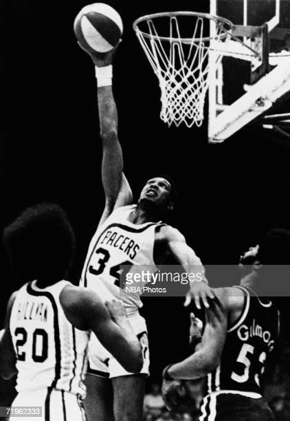 Mel Daniels of the Indiana Pacers shoots a hook shot during a game played in 1968 at Market Square Arena in Indianapolis Indiana NOTE TO USER User...