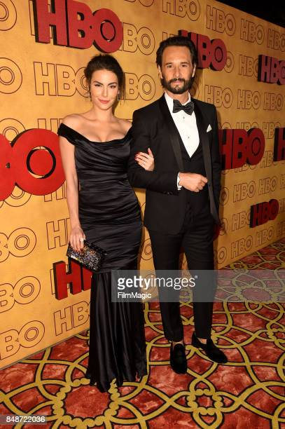 Mel Fronckowiak and Rodrigo Santoro attend HBO's Post Emmy Awards Reception at The Plaza at the Pacific Design Center on September 17 2017 in Los...