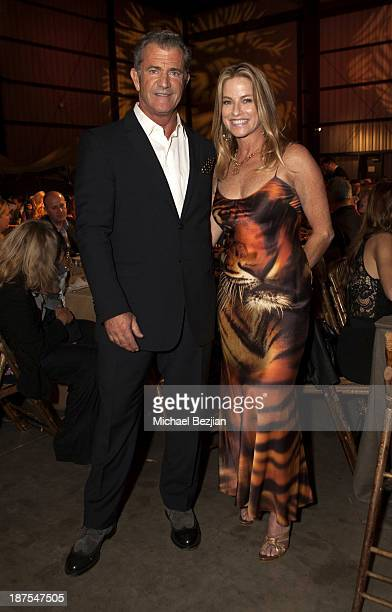 Mel Gibson and Dorothy Lucey attend Mending Kids International's Wings Around The World African Safari Gala Inside at Santa Monica Airport on...