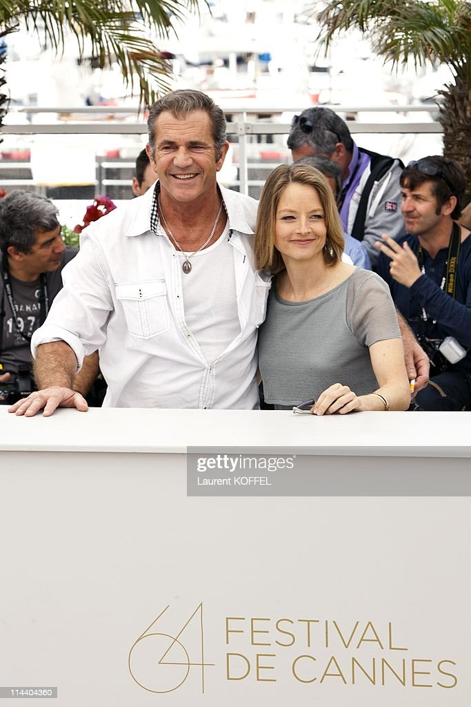 <a gi-track='captionPersonalityLinkClicked' href=/galleries/search?phrase=Mel+Gibson&family=editorial&specificpeople=201512 ng-click='$event.stopPropagation()'>Mel Gibson</a> and <a gi-track='captionPersonalityLinkClicked' href=/galleries/search?phrase=Jodie+Foster&family=editorial&specificpeople=204488 ng-click='$event.stopPropagation()'>Jodie Foster</a> attend 'The Beaver' Photocall during the 64th Cannes Film Festival at Palais des Festivals on May 18, 2011 in Cannes, France.