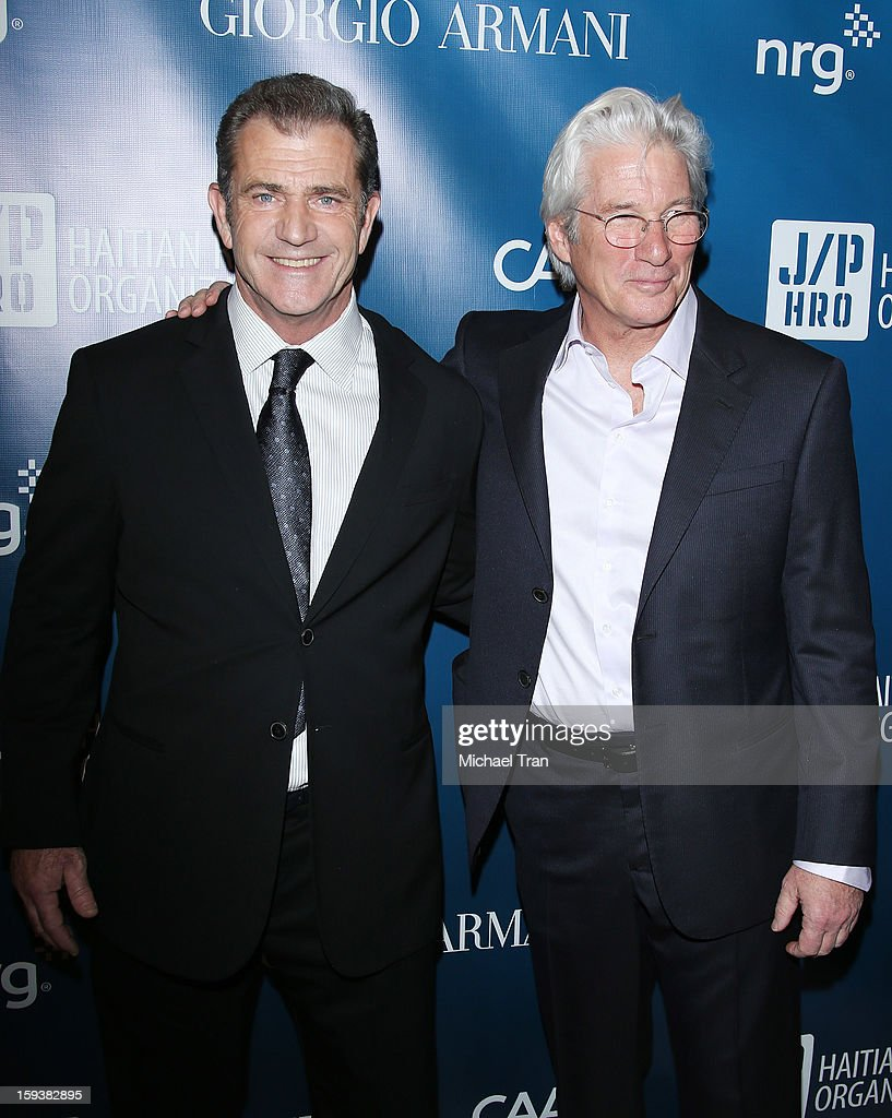<a gi-track='captionPersonalityLinkClicked' href=/galleries/search?phrase=Mel+Gibson&family=editorial&specificpeople=201512 ng-click='$event.stopPropagation()'>Mel Gibson</a> (L) and <a gi-track='captionPersonalityLinkClicked' href=/galleries/search?phrase=Richard+Gere&family=editorial&specificpeople=202110 ng-click='$event.stopPropagation()'>Richard Gere</a> arrive at the 2nd Annual Sean Penn & Friends 'Help Haiti Home' held at Montage Hotel on January 12, 2013 in Los Angeles, California.