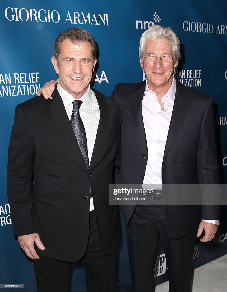 Mel Gibson and Richard Gere attend the 2nd Annual Sean Penn & Friends Help Haiti Home Presented By Giorgio Armani - A Gala To Benefit J/P HRO - Arrivals at Montage Beverly Hills on January 12, 2013 in Beverly Hills, California.