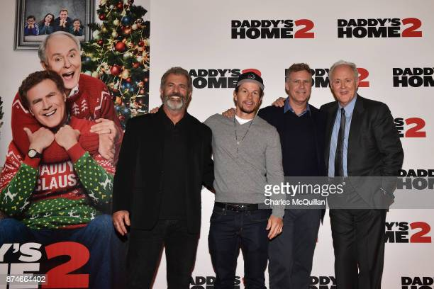 Mel Gibson Mark Wahlberg Will Ferrell and John Lithgow attends the Irish premiere of 'Daddy's Home 2' Odeon Cinema on November 15 2017 in Dublin...