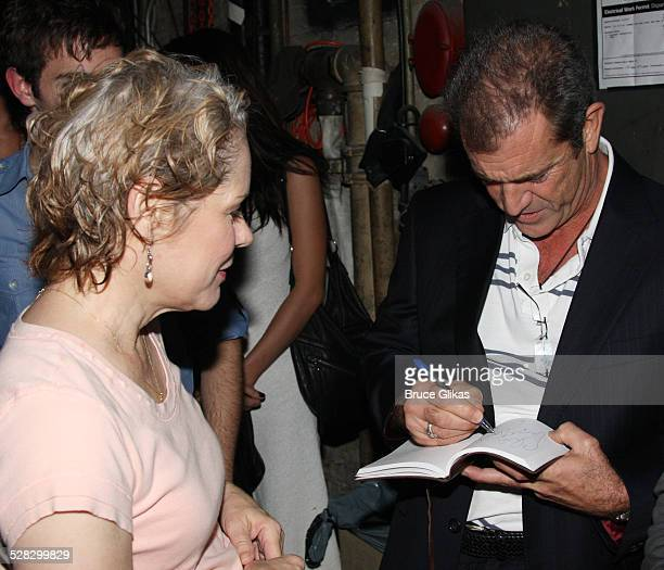 COVERAGE* Mel Gibson signs an autograph for Christine Estabrook at Spring Awakening on Broadway at the Eugene O'Neill Theater on August 16 2008 in...
