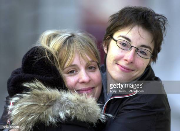 Mel Giedroyc and Sue Perkins clown around in central London during the launch of Funny Women an evening of standup comedy which will take place in...