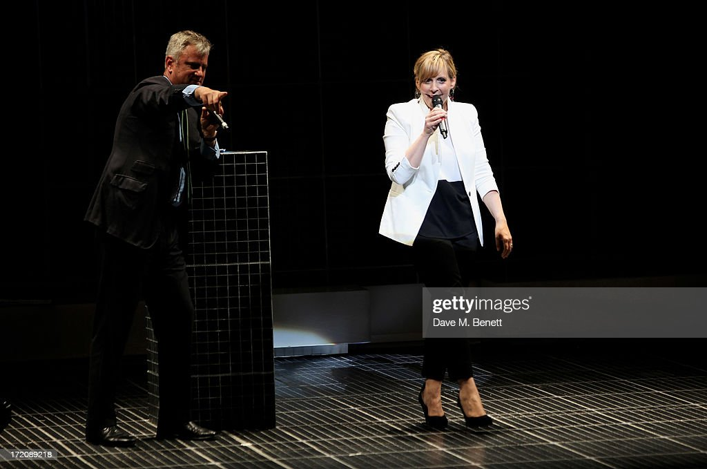 <a gi-track='captionPersonalityLinkClicked' href=/galleries/search?phrase=Mel+Giedroyc&family=editorial&specificpeople=241496 ng-click='$event.stopPropagation()'>Mel Giedroyc</a> speaks on stage at 'A Curious Night at the Theatre', a charity gala evening to raise funds for Ambitious about Autism and The National Autistic Society, at The Apollo Theatre on July 1, 2013 in London, England.