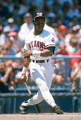 Mel Hall of the Cleveland Indians bats during an Major League Baseball game circa 1986 at Cleveland Stadium in Cleveland Ohio Hall played for the...
