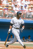 Mel Hall of the New York Yankees bats against the Atlanta Braves during an Major League Baseball spring training game circa 1992 in West Palm Beach...