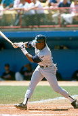 Mel Hall of the New York Yankees bats against the Atlanta Braves during an Major League Baseball spring training game circa 1990 in West Palm Beach...