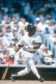 Mel Hall of the New York Yankees bats during an Major League Baseball game circa 1989 at Yankee Stadium in the Bronx borough of New York City Hall...