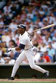 Mel Hall of the New York Yankees bats during an Major League Baseball game circa 1992 at Yankee Stadium in the Bronx borough of New York City Hall...